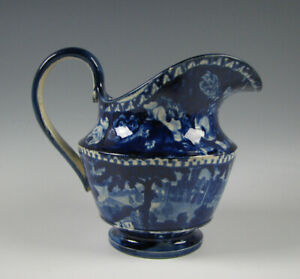 Antique Historical Dark Blue Staffordshire Cream Pitcher circa 1825 Transferware