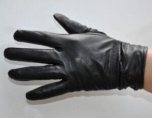 Men's Black Thin Genuine Sheep Leather Wrist Gloves Driving Gloves M-005