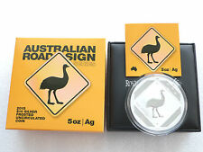 2015 Australia Emu Road Sign $10 Ten Dollar Silver 5oz Coin Box Coa