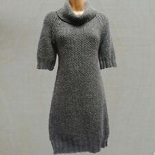 Small -8-10 UK NEXT Grey Italian Yarn Wool Blend Knit Roll Neck Jumper Dress