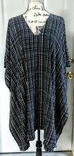 Vince. Silk Black Blue White Stripe Boxy Wide Connect Sleeves Dress Women M