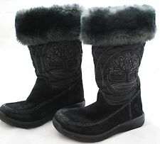 Girl's Timberland Waterproof Suede Boots Toddler  Sz 9.5 BLACK Faux Fur