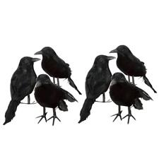 6pcs Halloween Stuffed Feather Crow Bird Black Ravens Fancy Dress Prop Decor