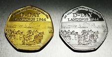 2x WINSTON CHURCHILL WW2 D-DAY Commemorative Coins. Silver & 24ct Gold. 50p NEW