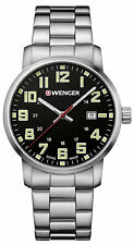 Wenger 01.1641.111 Avenue Swiss Men's Black Analog Watch Steel Bracelet