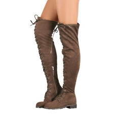 US New Womens Thigh High Lace Up Flat Over The Knee Long Boots Faux Suede Shoes