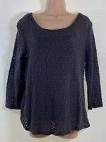 FAT FACE brown 2 in 1 crochet 3/4 sleeve blouse top + vest size 12 euro 40