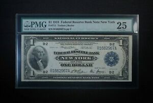 1918 $1 One Dollar Federal Reserve Bank Note New York PMG 25 - Free Shipping USA