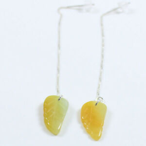 """Certified Grade """"A"""" Natural Yellow Brown Jadeite Jade 925 Silver Earring a3912"""