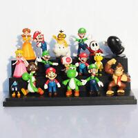 SUPER MARIO BROS lot de 18 Figurines  poupée LUIGI MARIO PEACH jouet décor
