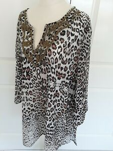 New Animal Print Kaftan Tunic Top Plus SIZE 22 Gorgeous Bronze Beading