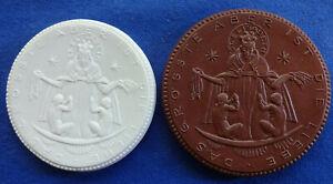 Freiburg - 2 x Porzellanmedaille 1924 - Deutscher Caritas Verein - BR 54/55