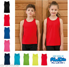 AWD Kids Girls Boys Plain Sports Running School Vest Top Sleeveless Ages 3 to 13