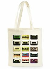 VINTAGE CASSETTE TAPES COOL FASHION SHOPPING CANVAS TOTE BAG IDEAL GIFT PRESENT