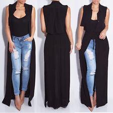 Women Summer Chiffon Sleeveless Lapel Tops Long Maxi Shirt Dress Blouse Cardigan