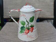 "vintage metal toleware 9.25"" hand painted pitcher rooster strawberries folk art"