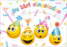 Lustige Smiley-Einladungskarten Kindergeburtstag, Geburtstagseinladungen Kinder