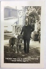 Old Real Photo Postcard Rppc The Reverend and His St. Bernard West Bend, Iowa