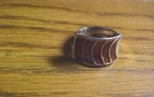 Norwegian David Andersen Sterling Silver .925 Brick Red Enamel Wrap Ring Norway