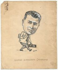 Cricket England George Duckworth 1949 sketch by cartoonist R Booch India Ӝ