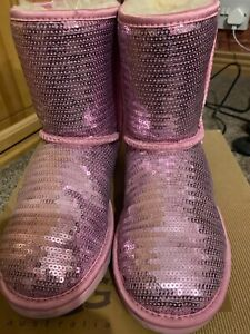 Sparkly Pink Sequin Ugg Boots With Original Box