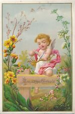 """Sweet Victorian Emb. Christmas Card, Cupid """"Merry May Your Christmas Be"""""""