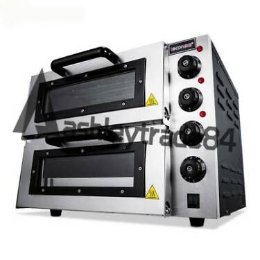 220V 16 Double Electric Pizza Oven Commercial Ceramic Stone New