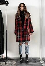 ZARA RED BLACK CHECKED DOUBLE BREASTED LAPEL COLLAR COAT, SIZE M (UK 10 12 14)