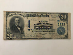 1902 $20 United States of America National Bank Note Salem New Jersey Large Size