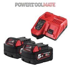 Milwaukee M18NRG-502 18V Energy Pack 2 x M18B5 5.0Ah Battery & M12-18FC Charger