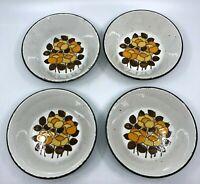 """Set of 4 Vintage Midwinter Stonehenge SUMMER Soup/Cereal Bowls 6 1/2"""" MCM Floral"""