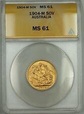 1904-M Australia Sovereign Gold Coin ANACS MS-61
