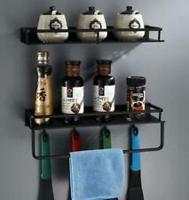 Black Bathroom Shower Caddy Wire Space Aluminum Basket Storage Shelves Towel Bar