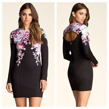NWT BEBE floral black long sleeve cutout back zipper sexy top dress XS 0 2