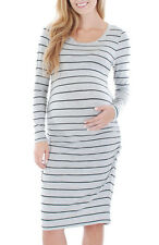 New Everly Grey Maternity Clothes Sporty Casual Striped T-Shirt Dress S 2/4