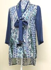 QVC Floral Butterfly Chiffon Tunic Top Tie Bow Neck Long Blouse Shirt UK 6-10