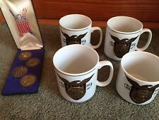 Vintage Set of 4 1776-1976 Freedom Bicentinnial Medallion Coins & Cups
