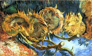 Vincent van Gogh sunflowers art reproduction 8.3X12 canvas print poster giclee