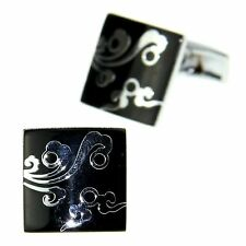 Men's Jewelry Shirt Cuff Link Cufflinks Gift Box Silver Tone Black Square CJ187