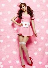 Sexy Nurse Uniform Dress Costume for Cosplay & Halloween Party Pink 3 Pieces