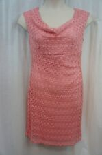 Connected Apparel Pink Women's Size 10 Cowl-neck Lace Sheath Dress #324