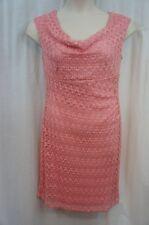 Connected Apparel Dress Sz 10 Shrimp Cap Sleeve Cowl Neck Evening Sheath Dress