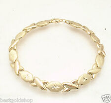 """7.25"""" Diamond Cut Hugs and Kisses Stampato Bracelet Real 14K Yellow Gold"""
