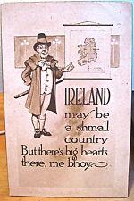Irish Postcard IRELAND Shmall Country Big Hearts Bhoy Brogue Map Gibson Art Co
