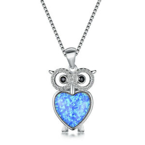 Fashion Silver Necklace Blue Simulated Opal Owl Pendant Xmas Birthday Gift