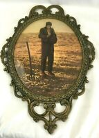 "Antique Metal Large 17"" Victorian Oval Convex Glass Picture Frame Farmer Picture"
