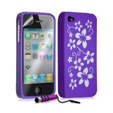 Housse étui coque silicone pour Apple Iphone 4 / 4S motif fleur couleur violet +
