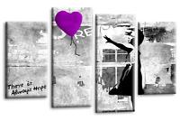 Le Reve Banksy Wall Art Picture Purple Grey Balloon Girl Love Peace Canvas Multi