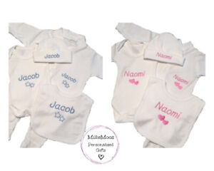Personalised Embroidered Baby Sleepsuit Bib Hat Bodysuit Boy Girl Baby Gift Set