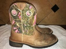 Ariat Pink Camo Cowboy Western Boots Size 6.5 FREE SHIPPING
